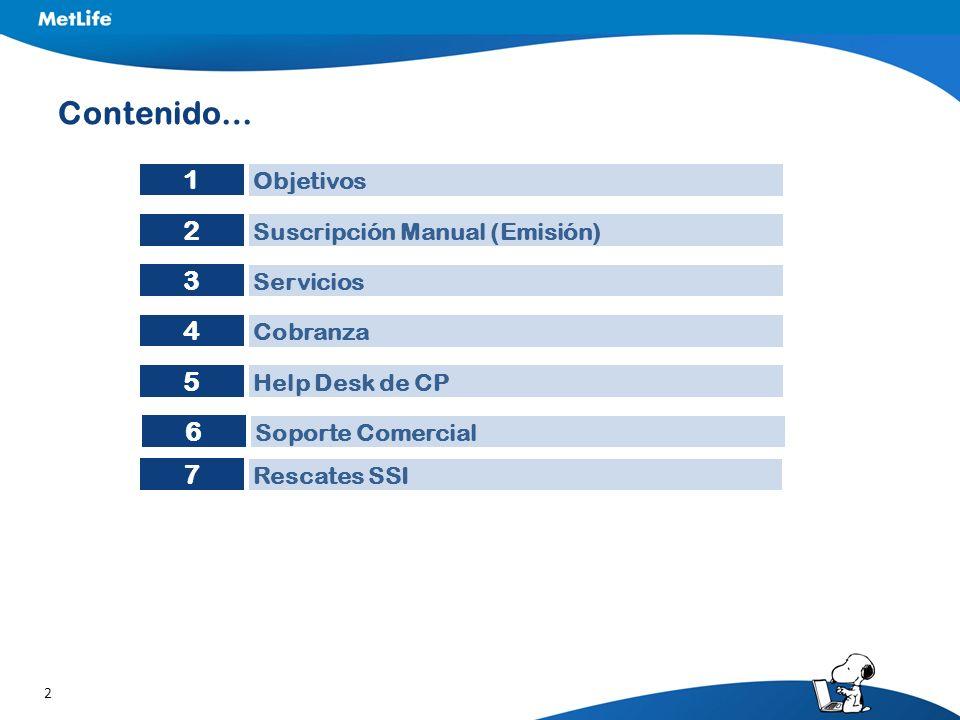 2 Contenido… Suscripción Manual (Emisión) Servicios Cobranza Objetivos 2 3 4 1 Help Desk de CP 5 Soporte Comercial 6 Rescates SSI 7