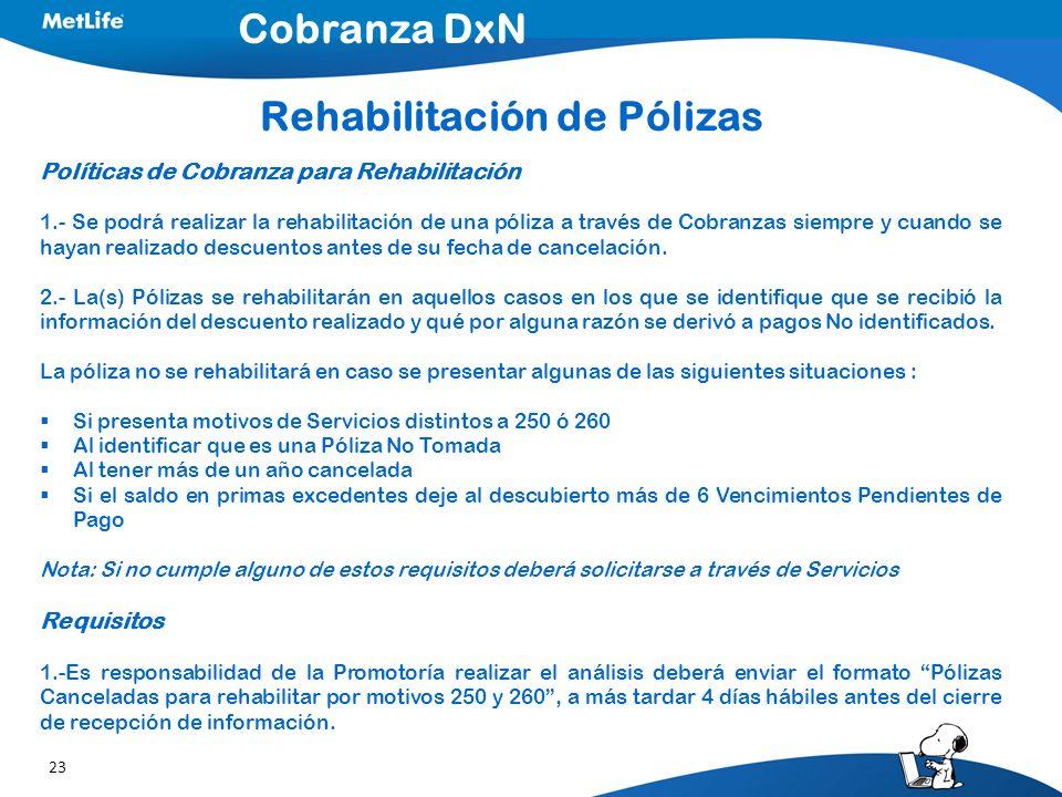 23 Políticas de Cobranza para Rehabilitación 1.- Se podrá realizar la rehabilitación de una póliza a través de Cobranzas siempre y cuando se hayan realizado descuentos antes de su fecha de cancelación.