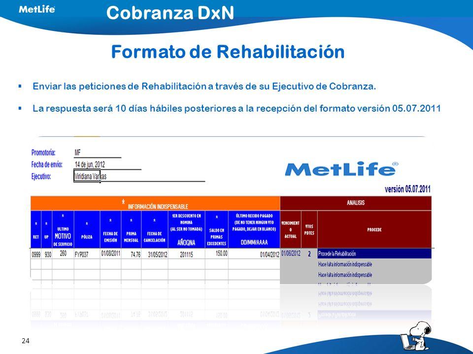 24 Enviar las peticiones de Rehabilitación a través de su Ejecutivo de Cobranza. La respuesta será 10 días hábiles posteriores a la recepción del form