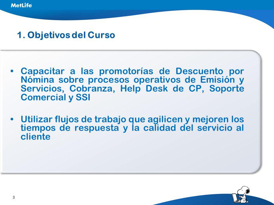 3 1. Objetivos del Curso Capacitar a las promotorías de Descuento por Nómina sobre procesos operativos de Emisión y Servicios, Cobranza, Help Desk de