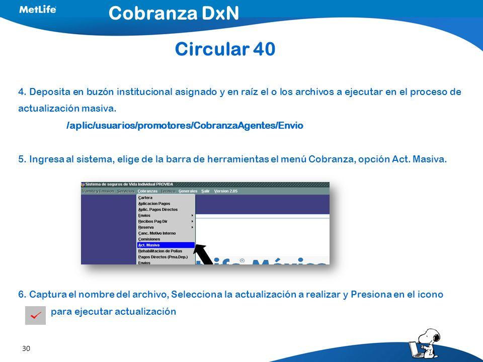 30 4. Deposita en buzón institucional asignado y en raíz el o los archivos a ejecutar en el proceso de actualización masiva. /aplic/usuarios/promotore