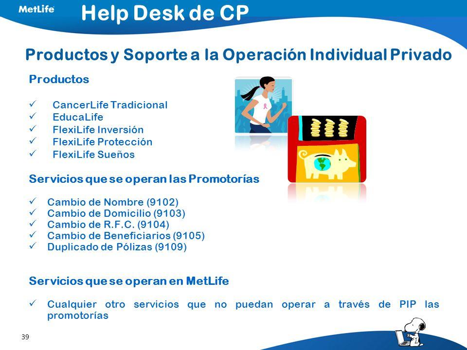 39 Productos y Soporte a la Operación Individual Privado Productos CancerLife Tradicional EducaLife FlexiLife Inversión FlexiLife Protección FlexiLife