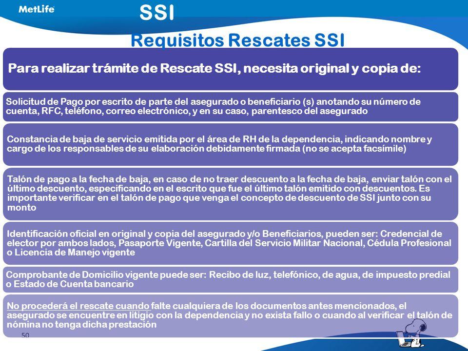 50 Para realizar trámite de Rescate SSI, necesita original y copia de: Solicitud de Pago por escrito de parte del asegurado o beneficiario (s) anotand