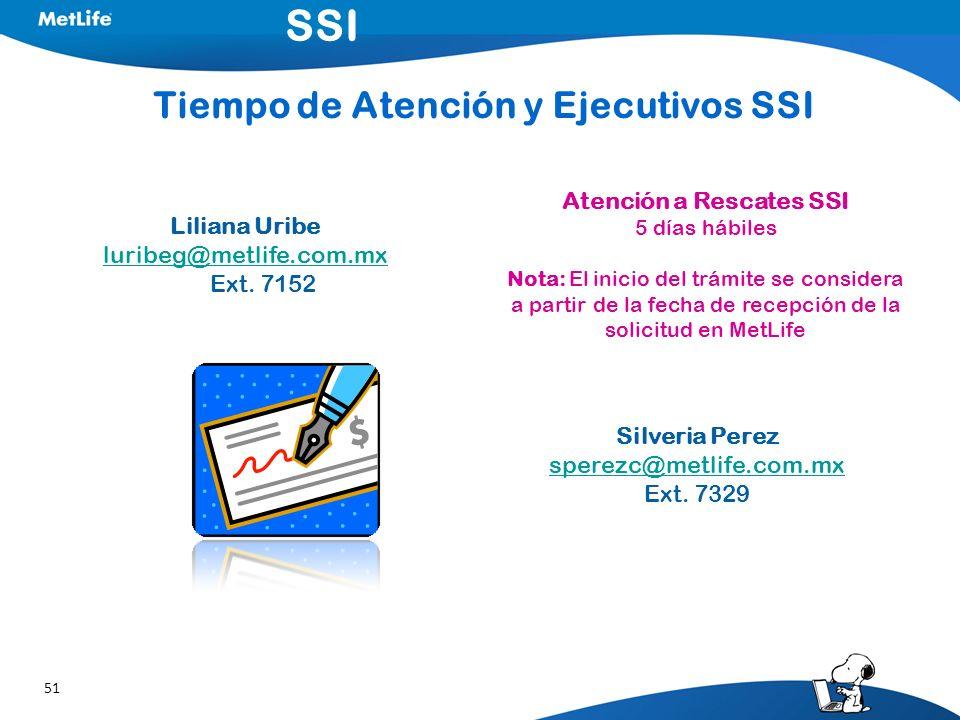 51 Atención a Rescates SSI 5 días hábiles Nota: El inicio del trámite se considera a partir de la fecha de recepción de la solicitud en MetLife Tiempo