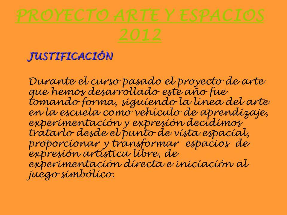 PROYECTO ARTE Y ESPACIOS 2012 JUSTIFICACIÓN Durante el curso pasado el proyecto de arte que hemos desarrollado este año fue tomando forma, siguiendo l