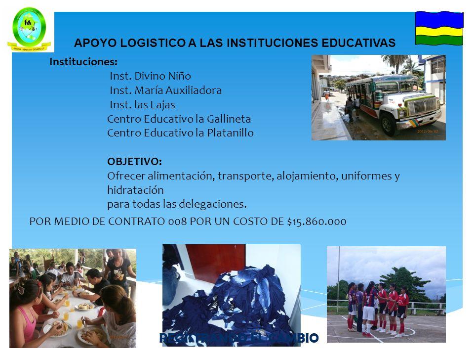 APOYO LOGISTICO A LAS INSTITUCIONES EDUCATIVAS POR MEDIO DE CONTRATO 008 POR UN COSTO DE $15.860.000 Instituciones: Inst.