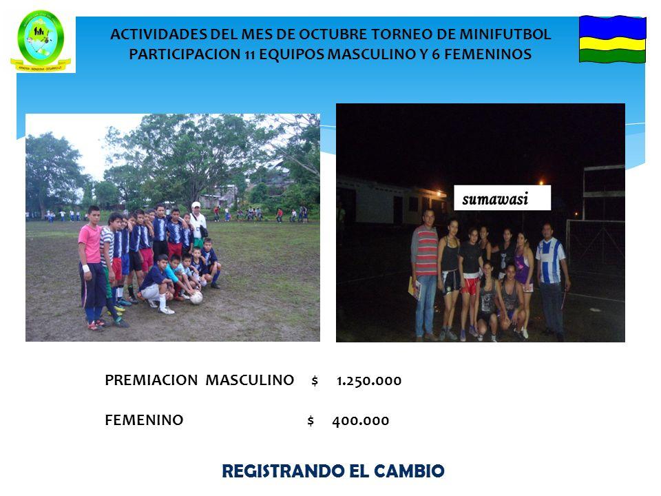 REGISTRANDO EL CAMBIO ACTIVIDADES DEL MES DE OCTUBRE TORNEO DE MINIFUTBOL PARTICIPACION 11 EQUIPOS MASCULINO Y 6 FEMENINOS PREMIACION MASCULINO $ 1.250.000 FEMENINO $ 400.000
