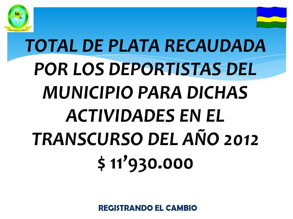 REGISTRANDO EL CAMBIO TOTAL DE PLATA RECAUDADA POR LOS DEPORTISTAS DEL MUNICIPIO PARA DICHAS ACTIVIDADES EN EL TRANSCURSO DEL AÑO 2012 $ 11930.000