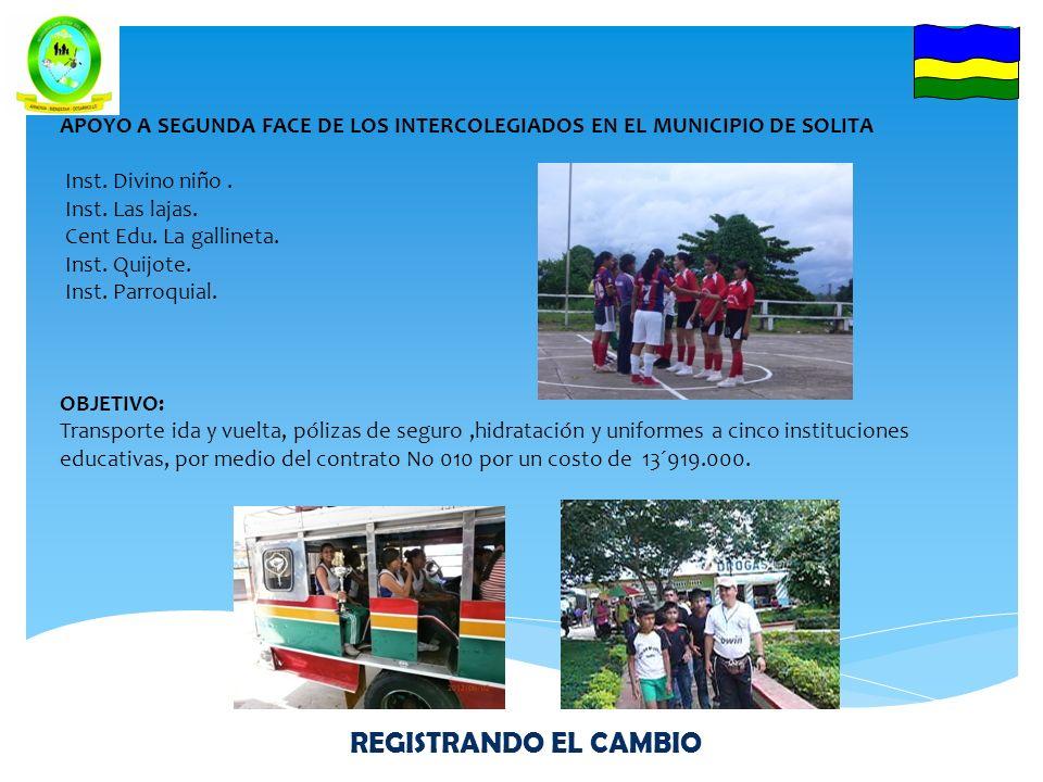 APOYO A TERCERA FACE DEPARTAMENTAL DE LOS JUEGOS INTERCOLEGIADOS 3-4-5 DE JULIO DEL 2012 EN LA CIUDAD DE FLORENCIA Delegaciones de: Inst.