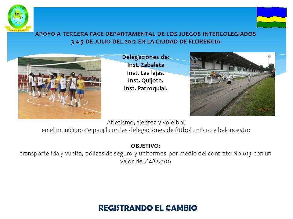 REGISTRANDO EL CAMBIO ACTIVIDADES DE JUNIO TORNEO INTER-MUNICIPAL DE FUTBOL 5 MUNICIPIOS Y UNA INSPECCION PREMIACION $ 2320.000 Primer puesto YURAYACO---------------------$ 1.500.000 --------------- $ 600.000 --------------- $ 220.000