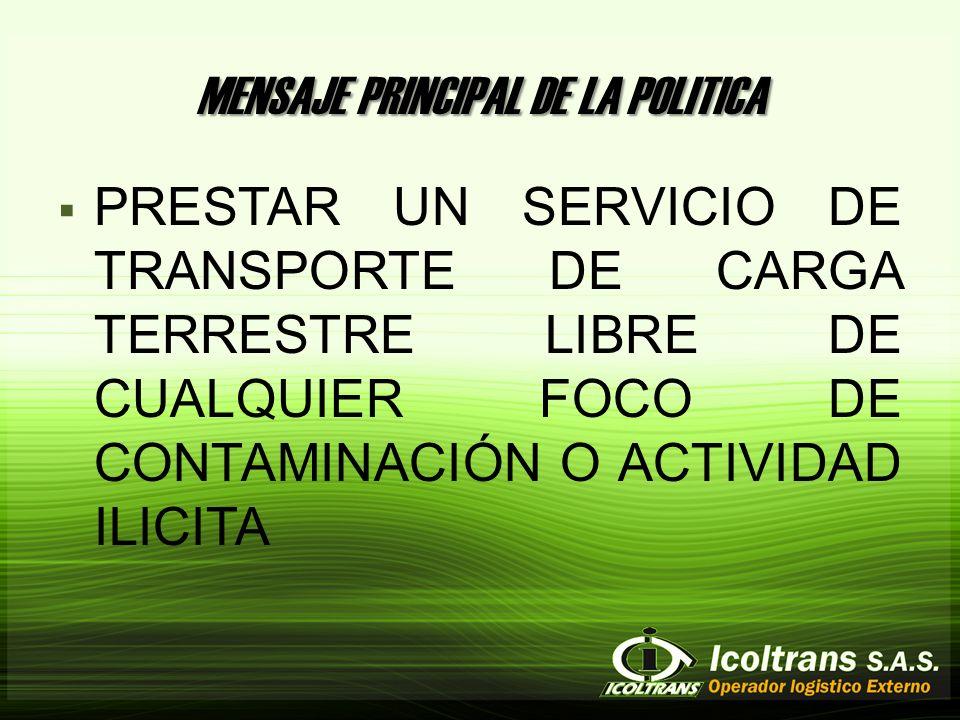 MENSAJE PRINCIPAL DE LA POLITICA PRESTAR UN SERVICIO DE TRANSPORTE DE CARGA TERRESTRE LIBRE DE CUALQUIER FOCO DE CONTAMINACIÓN O ACTIVIDAD ILICITA