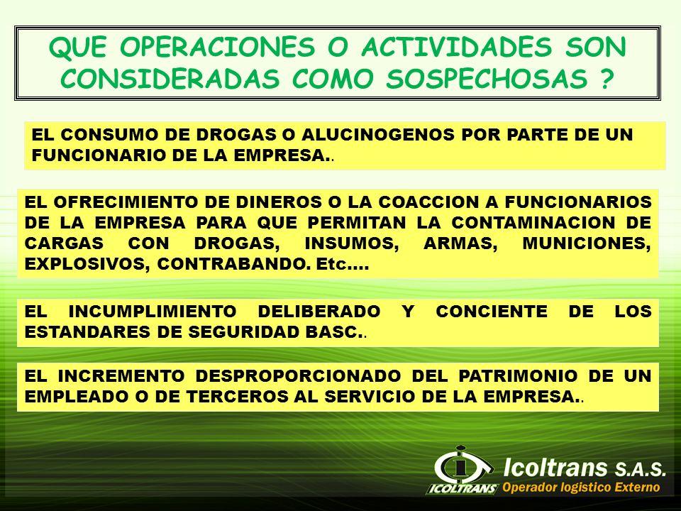QUE OPERACIONES O ACTIVIDADES SON CONSIDERADAS COMO SOSPECHOSAS .