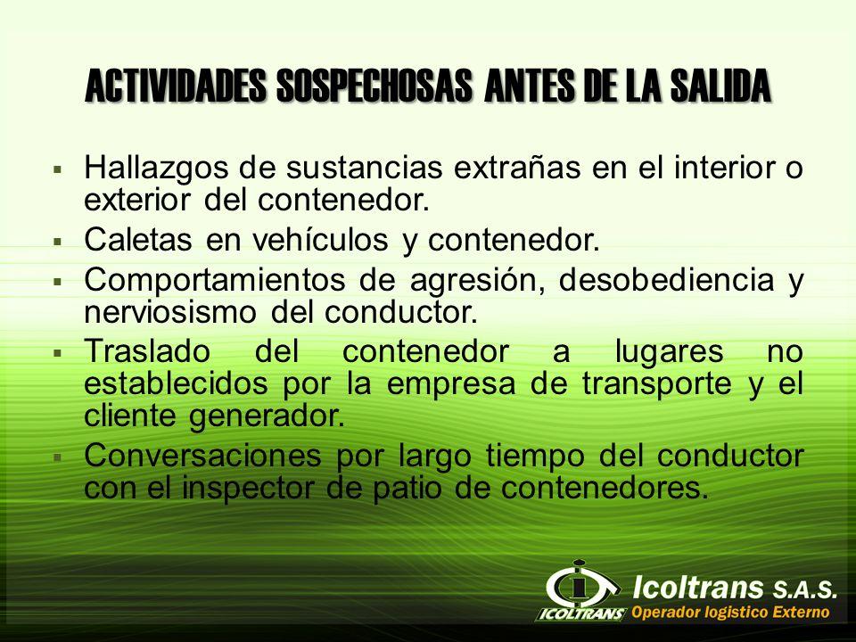 ACTIVIDADES SOSPECHOSAS ANTES DE LA SALIDA Hallazgos de sustancias extrañas en el interior o exterior del contenedor.