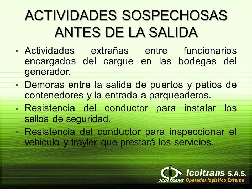 ACTIVIDADES SOSPECHOSAS ANTES DE LA SALIDA Actividades extrañas entre funcionarios encargados del cargue en las bodegas del generador.