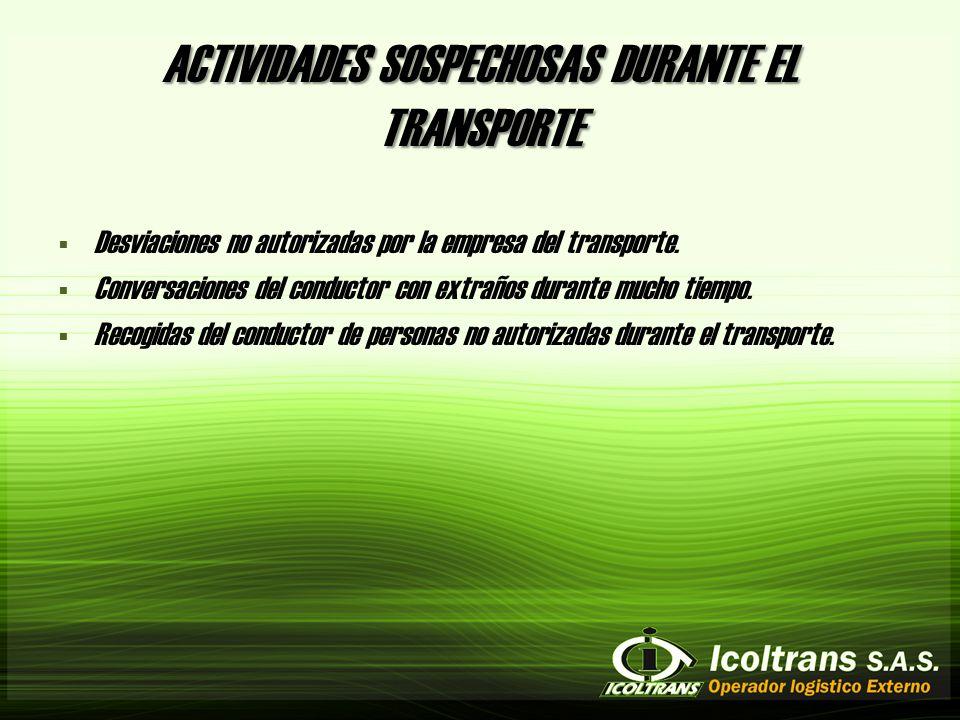 ACTIVIDADES SOSPECHOSAS DURANTE EL TRANSPORTE Desviaciones no autorizadas por la empresa del transporte.