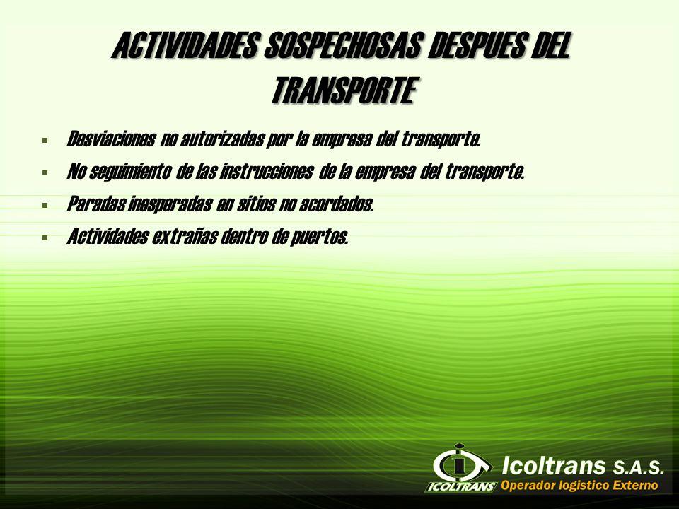 ACTIVIDADES SOSPECHOSAS DESPUES DEL TRANSPORTE Desviaciones no autorizadas por la empresa del transporte.
