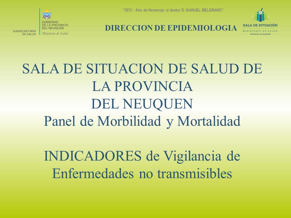SALA DE SITUACION DE SALUD DE LA PROVINCIA DEL NEUQUEN Panel de Morbilidad y Mortalidad INDICADORES de Vigilancia de Enfermedades no transmisibles DIR