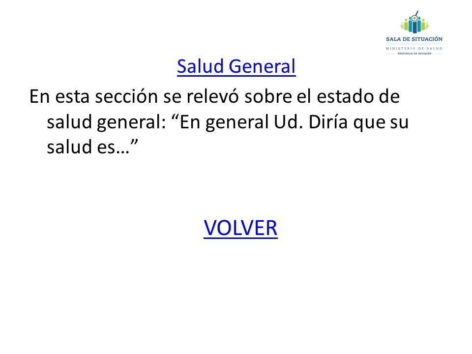 Salud General En esta sección se relevó sobre el estado de salud general: En general Ud.