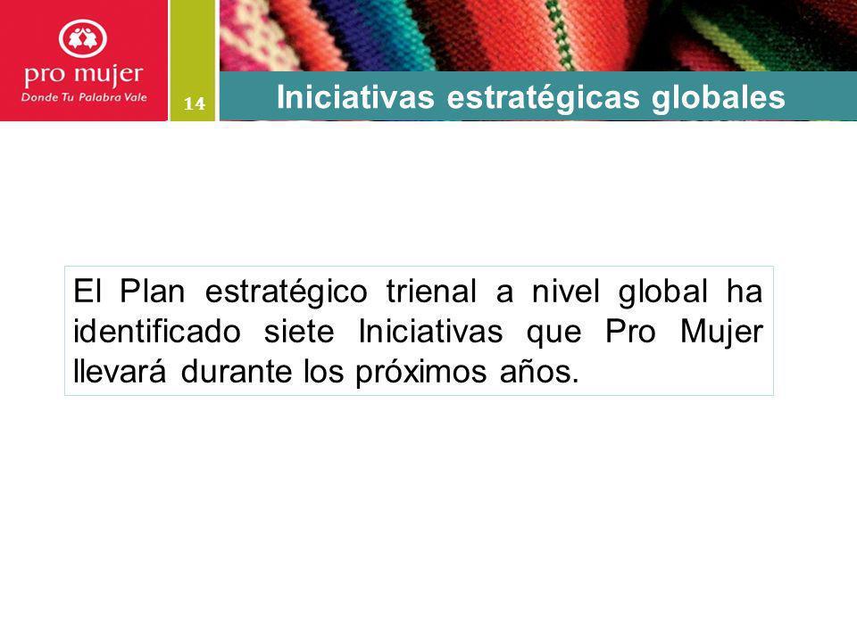 14 El Plan estratégico trienal a nivel global ha identificado siete Iniciativas que Pro Mujer llevará durante los próximos años. Iniciativas estratégi