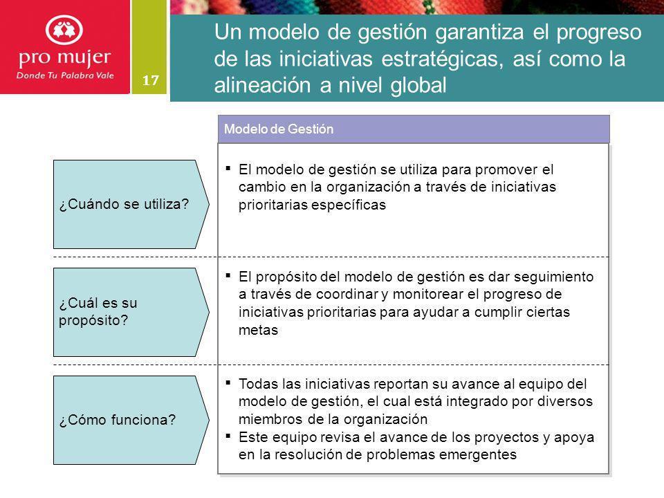 17 Un modelo de gestión garantiza el progreso de las iniciativas estratégicas, así como la alineación a nivel global El modelo de gestión se utiliza p
