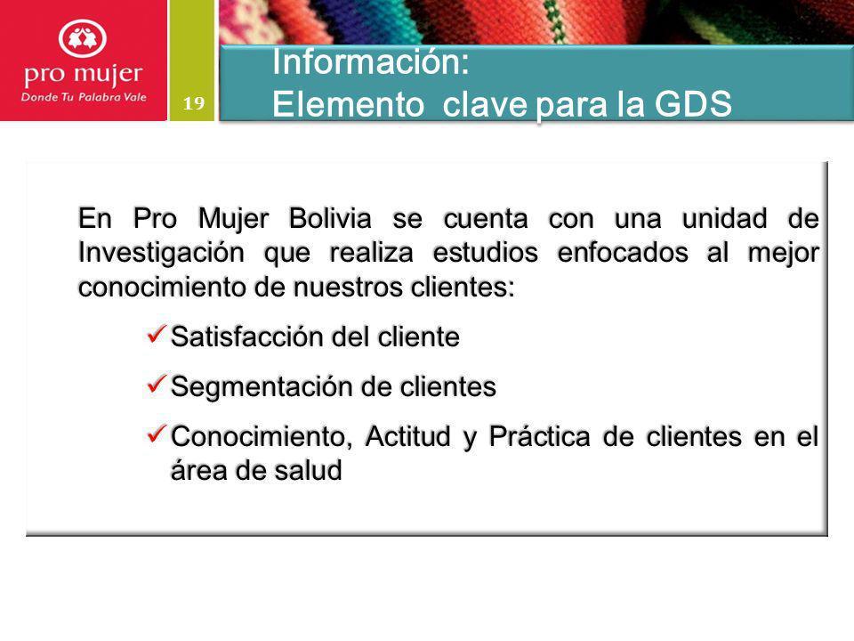 19 Información: Elemento clave para la GDS Información: Elemento clave para la GDS