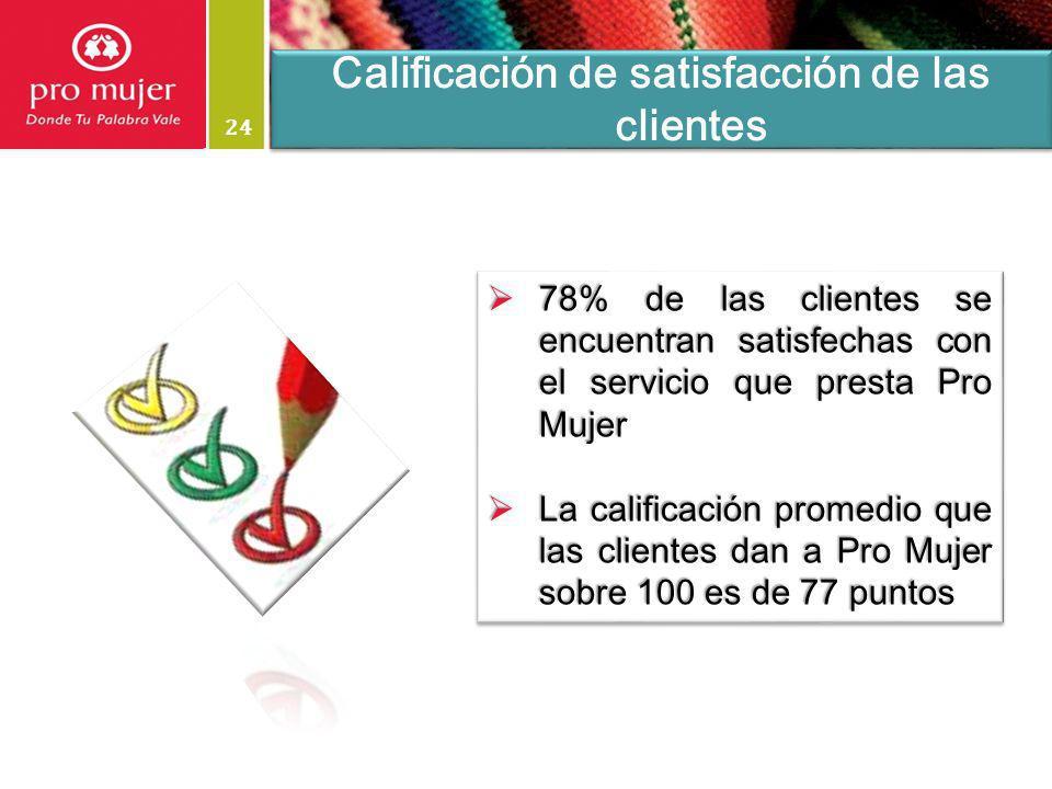 24 78% de las clientes se encuentran satisfechas con el servicio que presta Pro Mujer 78% de las clientes se encuentran satisfechas con el servicio qu
