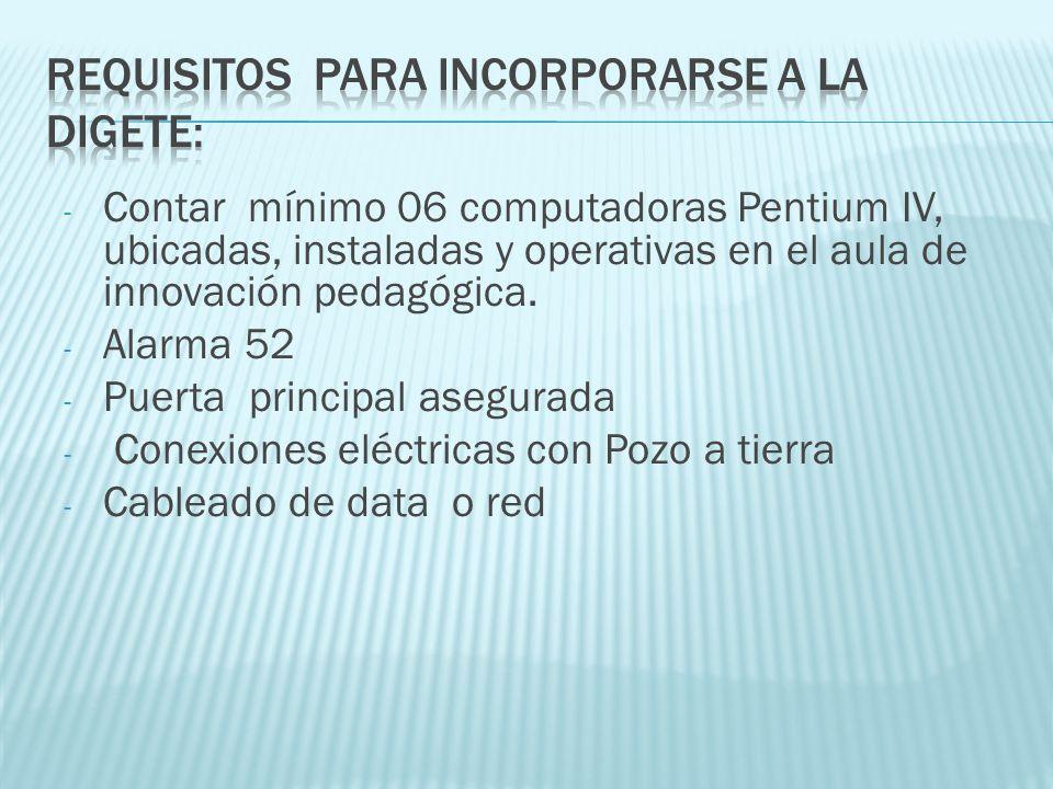 - Contar mínimo 06 computadoras Pentium IV, ubicadas, instaladas y operativas en el aula de innovación pedagógica. - Alarma 52 - Puerta principal aseg