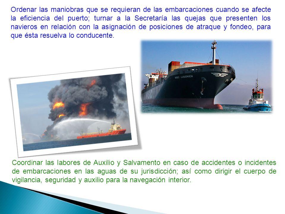 Ordenar las maniobras que se requieran de las embarcaciones cuando se afecte la eficiencia del puerto; turnar a la Secretaría las quejas que presenten