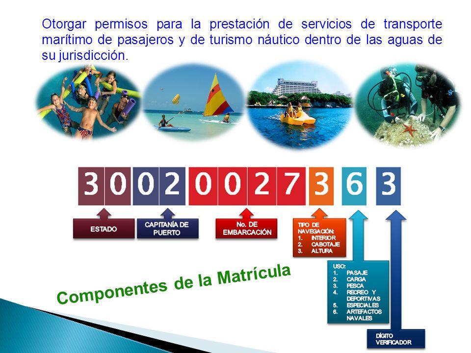 Otorgar permisos para la prestación de servicios de transporte marítimo de pasajeros y de turismo náutico dentro de las aguas de su jurisdicción. Comp