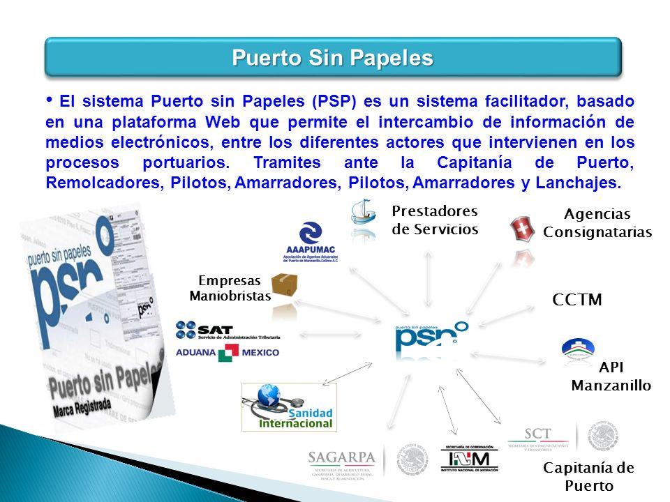 Puerto Sin Papeles Agencias Consignatarias Prestadores de Servicios CCTM API Manzanillo Capitanía de Puerto Empresas Maniobristas El sistema Puerto si
