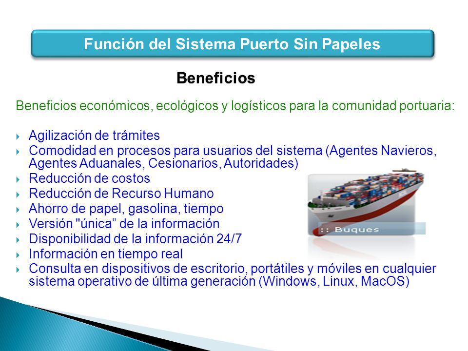 Beneficios Beneficios económicos, ecológicos y logísticos para la comunidad portuaria: Agilización de trámites Comodidad en procesos para usuarios del