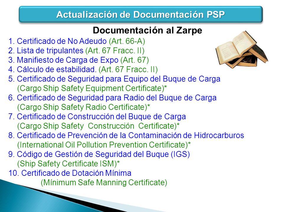 1. Certificado de No Adeudo (Art. 66-A) 2. Lista de tripulantes (Art. 67 Fracc. II) 3. Manifiesto de Carga de Expo (Art. 67) 4. Cálculo de estabilidad