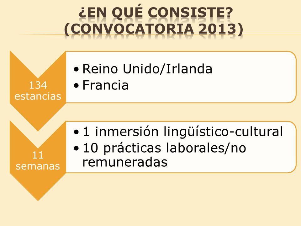 134 estancias Reino Unido/Irlanda Francia 11 semanas 1 inmersión lingüístico-cultural 10 prácticas laborales/no remuneradas