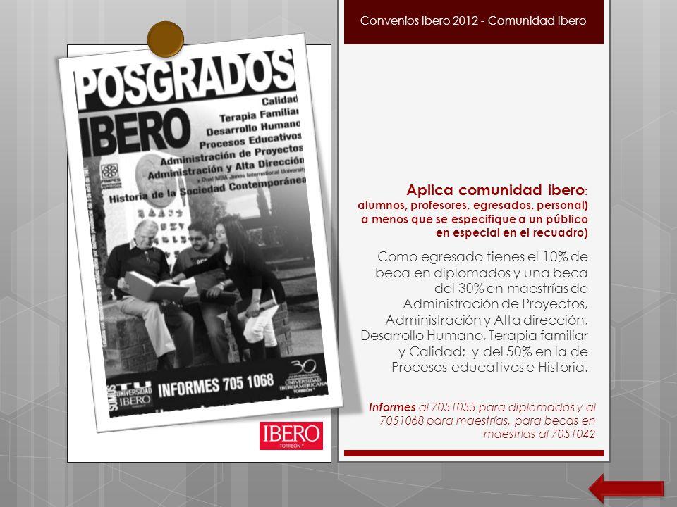 Aplica comunidad ibero : alumnos, profesores, egresados, personal) a menos que se especifique a un público en especial en el recuadro) Como egresado t