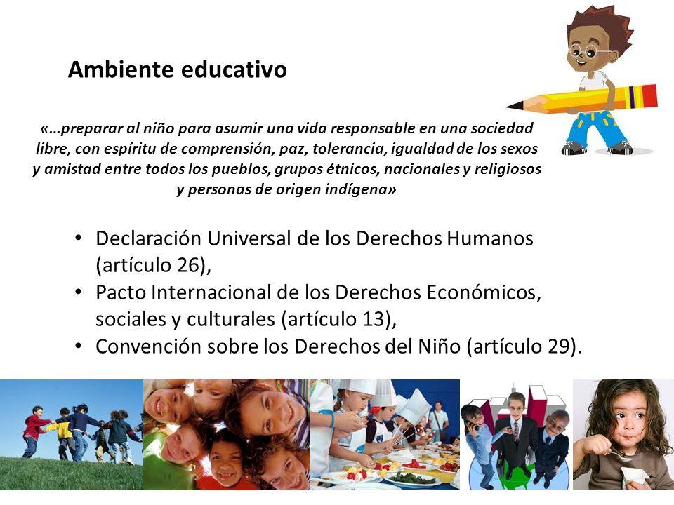 Declaración Universal de los Derechos Humanos (artículo 26), Pacto Internacional de los Derechos Económicos, sociales y culturales (artículo 13), Conv