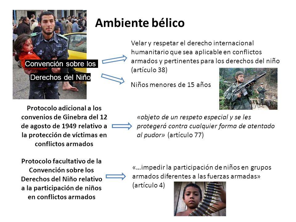 Ambiente bélico Velar y respetar el derecho internacional humanitario que sea aplicable en conflictos armados y pertinentes para los derechos del niño