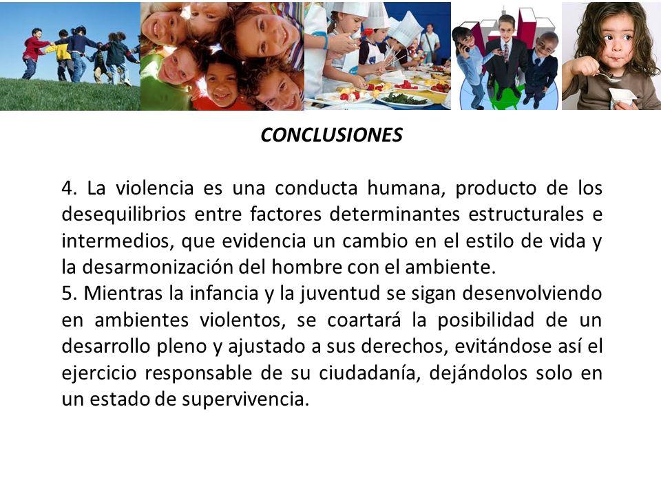 CONCLUSIONES 4. La violencia es una conducta humana, producto de los desequilibrios entre factores determinantes estructurales e intermedios, que evid