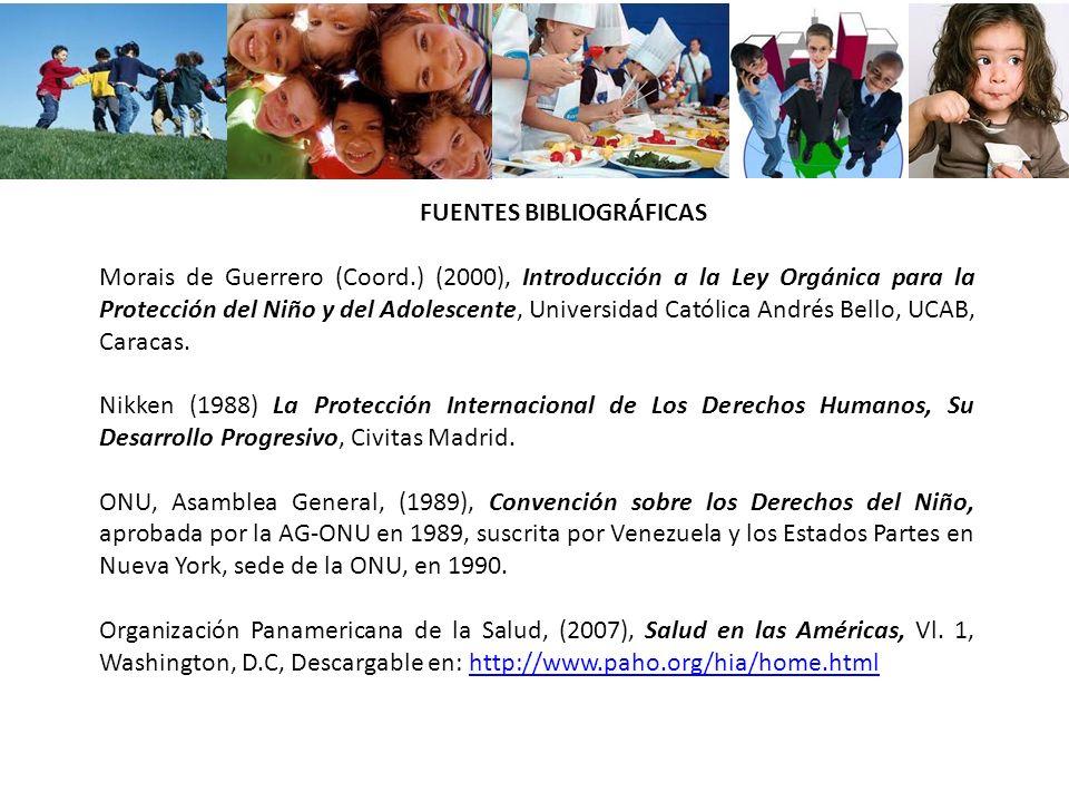 FUENTES BIBLIOGRÁFICAS Morais de Guerrero (Coord.) (2000), Introducción a la Ley Orgánica para la Protección del Niño y del Adolescente, Universidad C