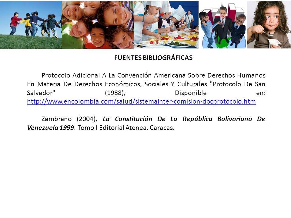 FUENTES BIBLIOGRÁFICAS Protocolo Adicional A La Convención Americana Sobre Derechos Humanos En Materia De Derechos Económicos, Sociales Y Culturales