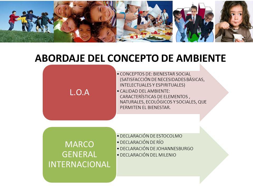 ABORDAJE DEL CONCEPTO DE AMBIENTE CONCEPTOS DE: BIENESTAR SOCIAL (SATISFACCIÓN DE NECESIDADES BÁSICAS, INTELECTUALES Y ESPIRITUALES) CALIDAD DEL AMBIE