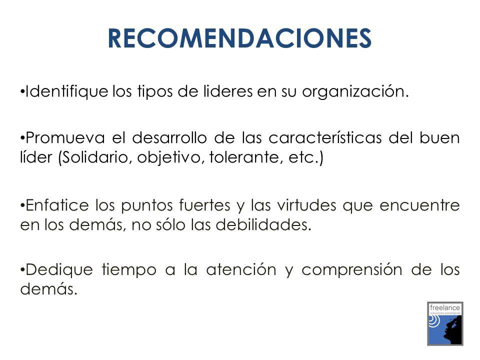 RECOMENDACIONES Identifique los tipos de lideres en su organización. Promueva el desarrollo de las características del buen líder (Solidario, objetivo
