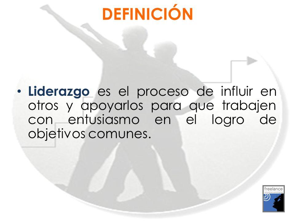 Liderazgo es el proceso de influir en otros y apoyarlos para que trabajen con entusiasmo en el logro de objetivos comunes. DEFINICIÓN