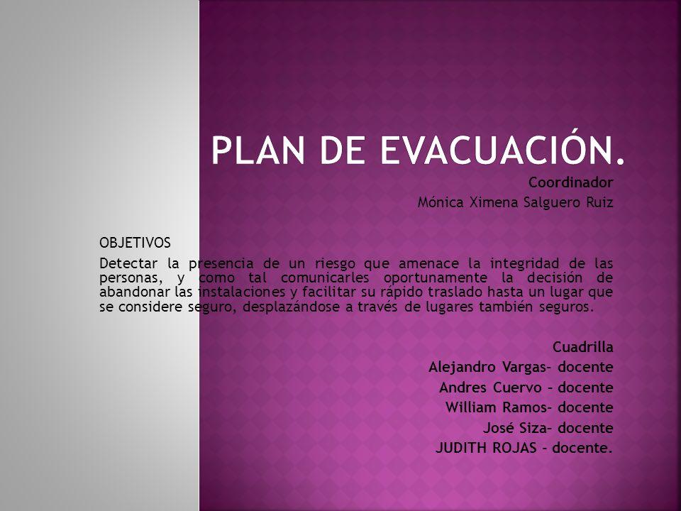 PROCEDIMIENTOS COORDINACIÓN Verificar el peligro existente antes de iniciar la evacuación o esperar la orden de la institución competente.