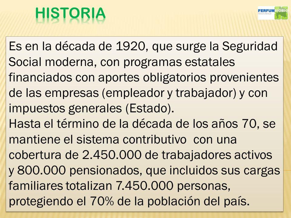 12 Es en la década de 1920, que surge la Seguridad Social moderna, con programas estatales financiados con aportes obligatorios provenientes de las empresas (empleador y trabajador) y con impuestos generales (Estado).