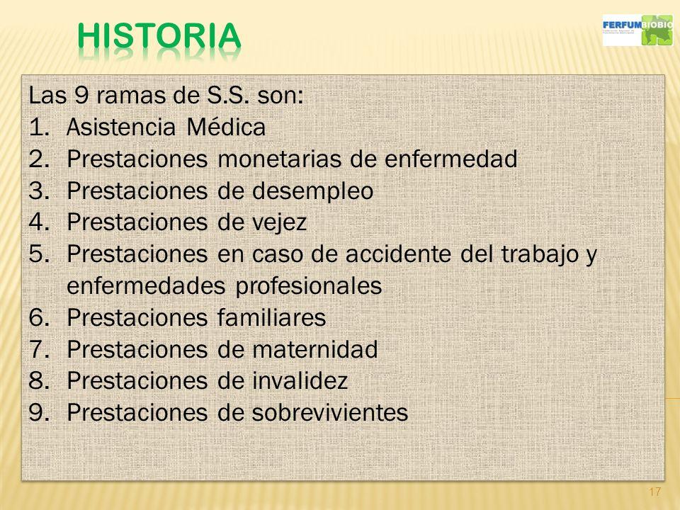 17 Las 9 ramas de S.S. son: 1.Asistencia Médica 2.Prestaciones monetarias de enfermedad 3.Prestaciones de desempleo 4.Prestaciones de vejez 5.Prestaci