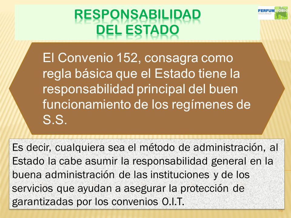 18 Es decir, cualquiera sea el método de administración, al Estado la cabe asumir la responsabilidad general en la buena administración de las instituciones y de los servicios que ayudan a asegurar la protección de garantizadas por los convenios O.I.T.