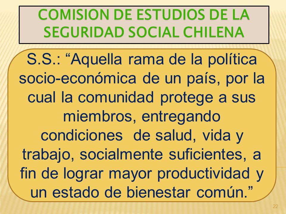 22 COMISION DE ESTUDIOS DE LA SEGURIDAD SOCIAL CHILENA S.S.: Aquella rama de la política socio-económica de un país, por la cual la comunidad protege