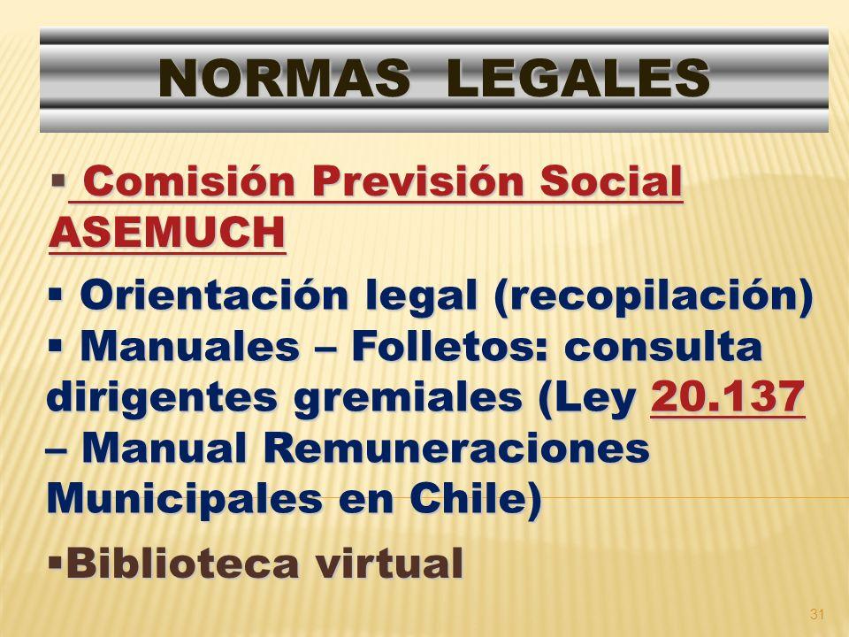 31 Comisión Previsión Social ASEMUCH Comisión Previsión Social ASEMUCH Comisión Previsión Social ASEMUCH Comisión Previsión Social ASEMUCH NORMAS LEGA