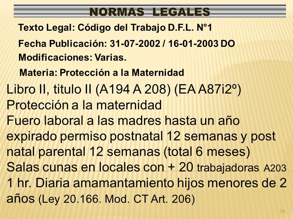 34 NORMAS LEGALES Modificaciones: Varias. Fecha Publicación: 31-07-2002 / 16-01-2003 DO Texto Legal: Código del Trabajo D.F.L. N°1 Libro II, titulo II