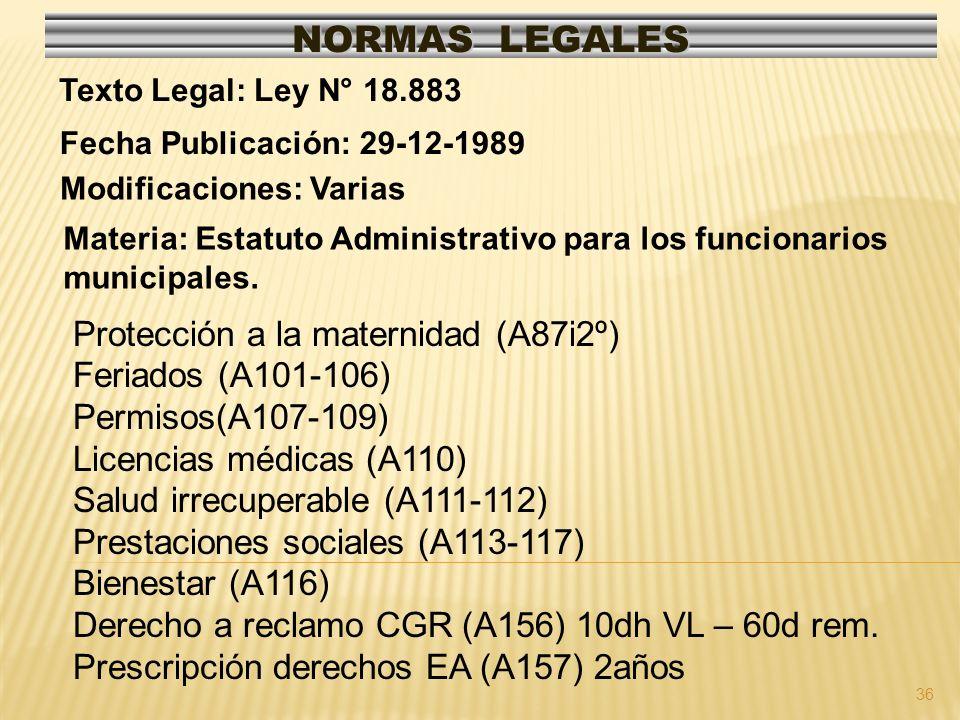 36 NORMAS LEGALES Modificaciones: Varias Fecha Publicación: 29-12-1989 Texto Legal: Ley N° 18.883 Protección a la maternidad (A87i2º) Feriados (A101-106) Permisos(A107-109) Licencias médicas (A110) Salud irrecuperable (A111-112) Prestaciones sociales (A113-117) Bienestar (A116) Derecho a reclamo CGR (A156) 10dh VL – 60d rem.